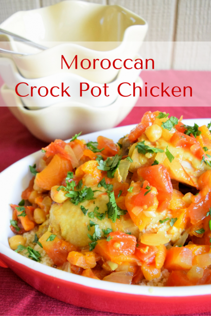 Crock Pot Moroccan Chicken with Apricots and Chickpeas - An easy weeknight meal inspired by the flavors of the middle east, Spain, and the Mediterranean