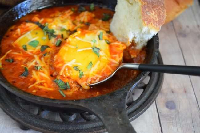 Eggs in Hell with Mezzetta Spicy Marinara Pasta Sauce #FallForFlavor