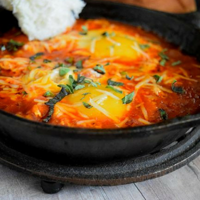 Eggs in Hell with Mezzetta Spicy Marinara Pasta Sauce #FallForFlavor