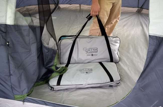 camping cots in storage bags