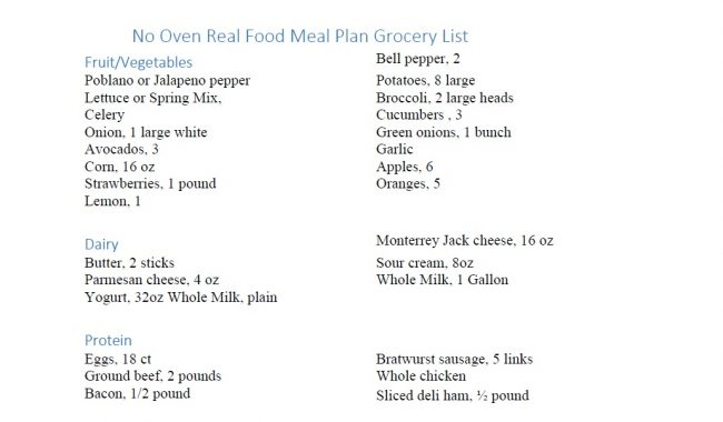 meal planner grocery list