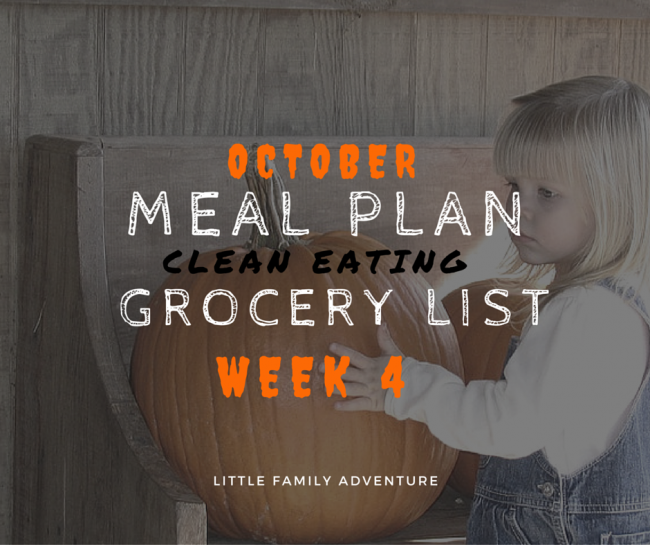 October Meal Plan Shopping List week 4