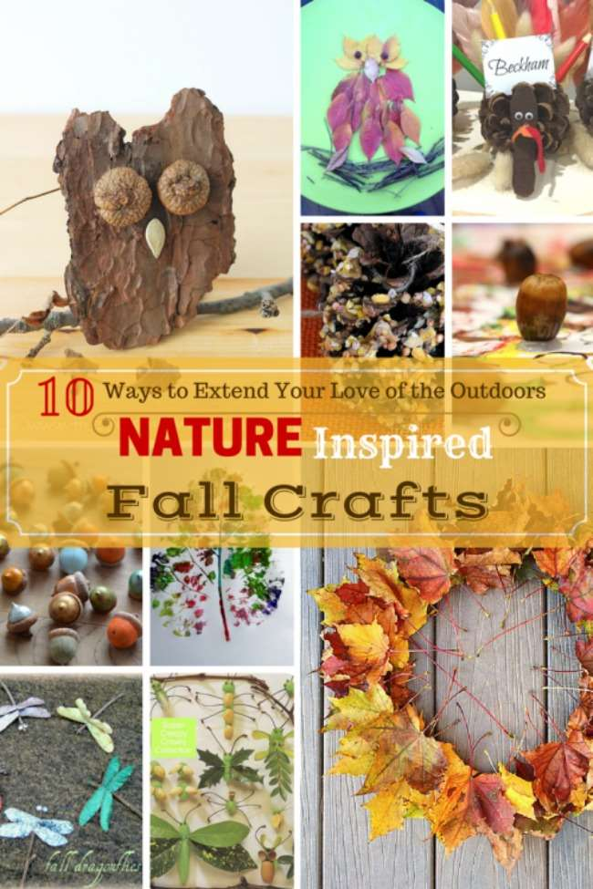 Nature Inspired Fall Crafts - Family Friendly Craft Projects to do with the kids with items found outdoors