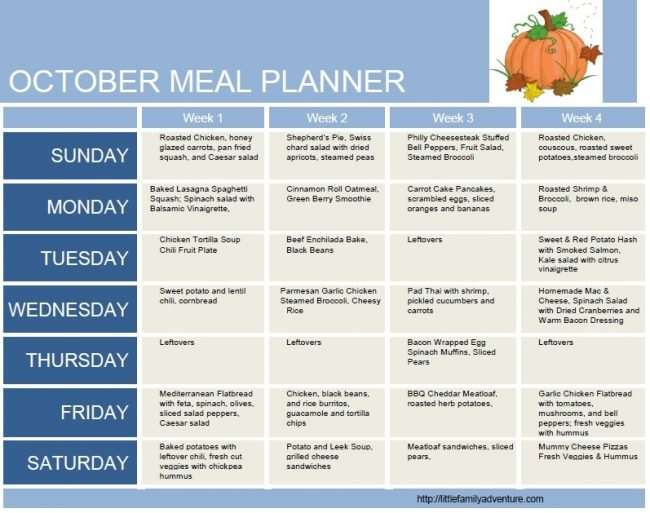 October Clean Eating Meal Plan  Little Family Adventure