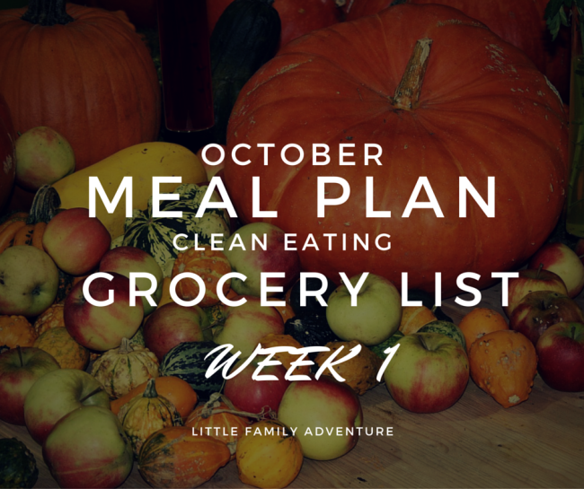 October Meal Plan Grocery List Week 1
