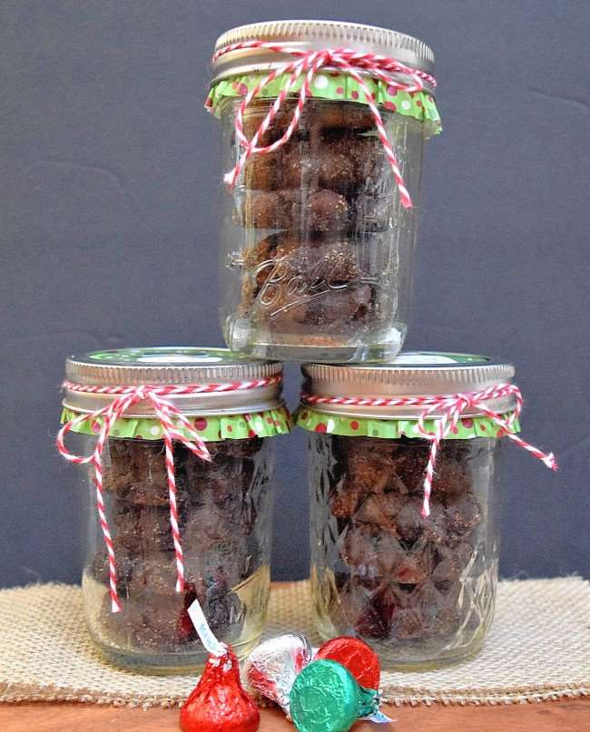 Spicy Double Dark Chocolate Snickerdoodle Cookies packaged in mason jars for holiday gifts