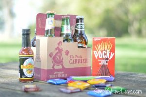 International beers & snacks for a beer lover's gift basket from World Market