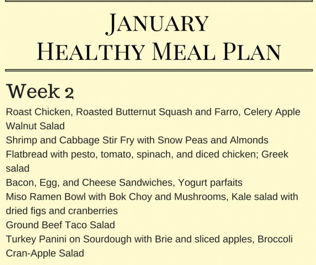 January Healthy Meal Plan - Meal planning ideas for Week 2