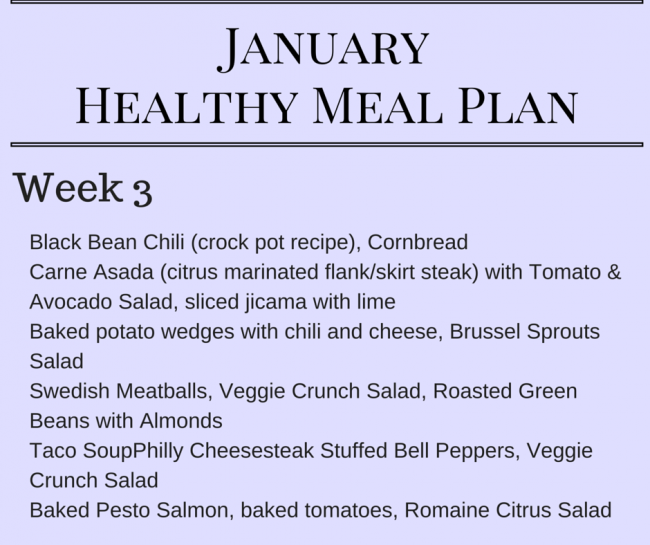 January Healthy Meal Plan - Meal planning ideas for Week 3