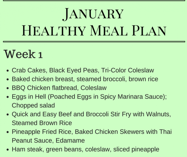 January Healthy Meal Plan - Meal planning ideas for Week 1