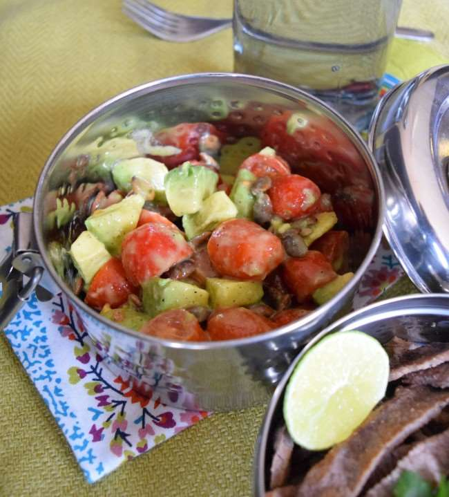 Simple Tomato Avocado Salad with Cilantro Lime Vinaigrette