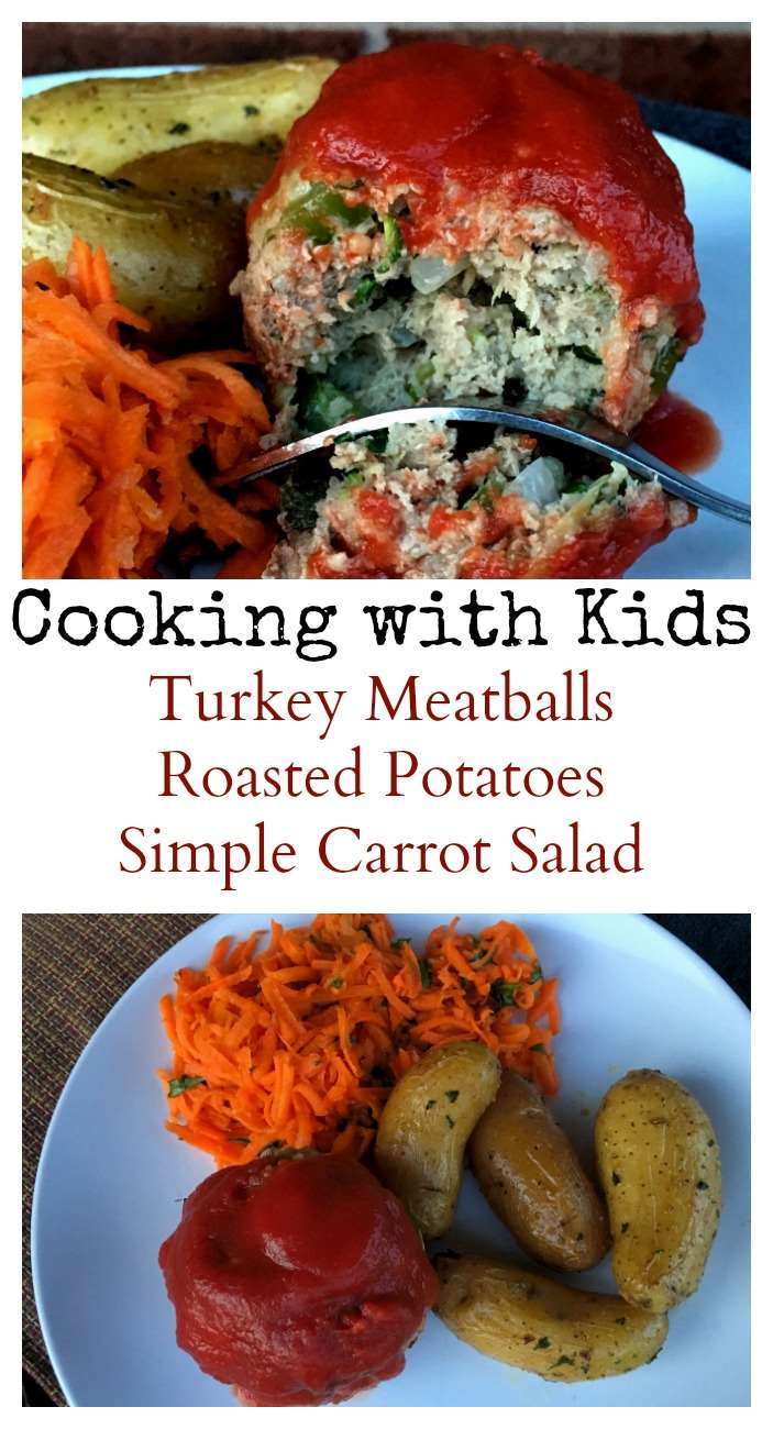 Cooking with Kids: Turkey Meatballs, Potatoes, & Carrot Salad - Save Money and Eat Healthy with ALDIUSA #ad