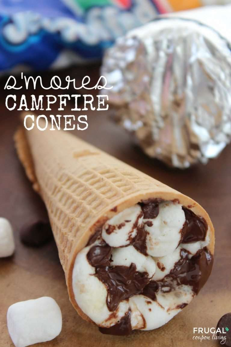 S'mores Campfire Cones - Cooking on the Campfire