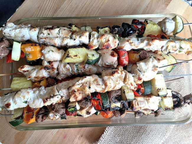 Yogurt Marinated Chicken and Vegetable Skewers - Get delicious & juicy chicken every time with our secret plus eat healthy and save money with the help of @aldiusa #ad