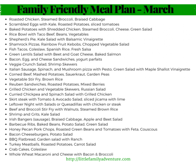 Family Friendly, Healthy Meal Plan for March - Clean eating dinner recipes that focus on helping you and your family eat healthy and stay active