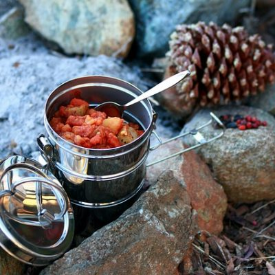 Stew in stainless steel pot - campfire cooking