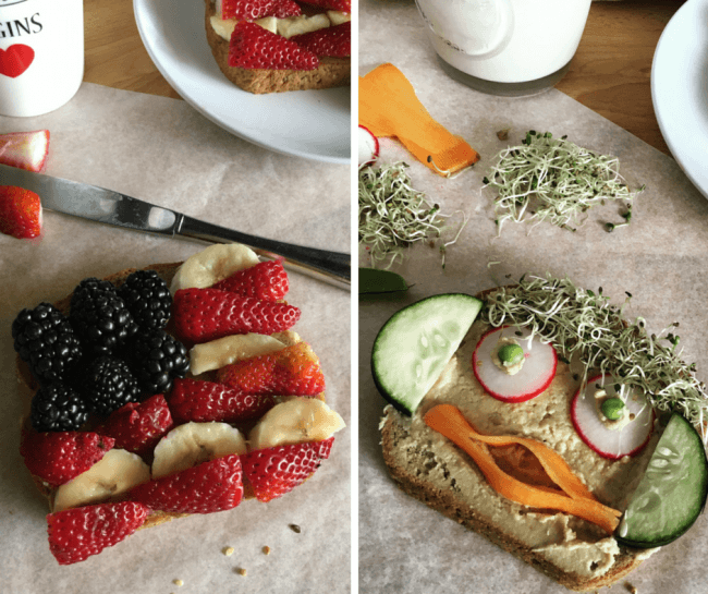 Never Make a Boring Sandwich Again with These recipes - Berry Sweet American Flag Sandwich and Funny Face Veggie Sandwich