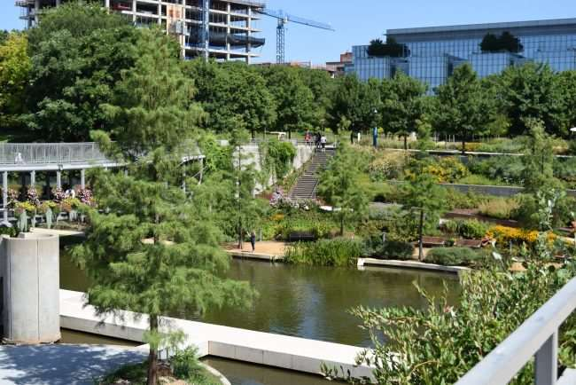 Pond and gardens at the Myriad Gardens in OKC