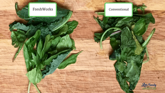 Mixed greens from both containers - The Secret to Keeping Summer Produce Fresher Longer - Learn how you can keep fruits and vegetables longer without going bad and save too. Get our produce shelf life and storage infographic as well as take the #LongLiveProduce Challenge #ad
