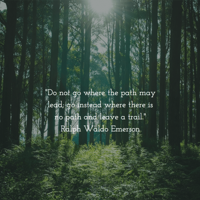 Ralph Waldo Emerson quote - Do not go where the path may lead; go instead where there is no path and leave a trail.