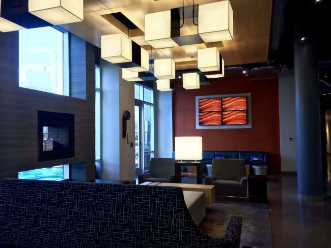 Lobby of the Aloft OKC hotel - modern decor