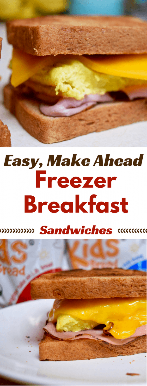 Create these Easy, Make Ahead Freezer Breakfast Sandwiches on busy weekday morning - You can have breakfast ready in just 2 minutes and give your family a hot, delicious meal before heading out to school. #rudiskidsbread #ad