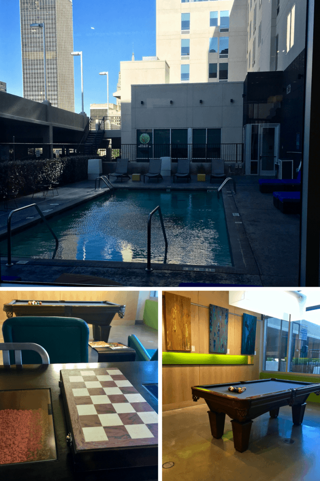Exterior pool, billiards, and games tables inside the Aloft OKC