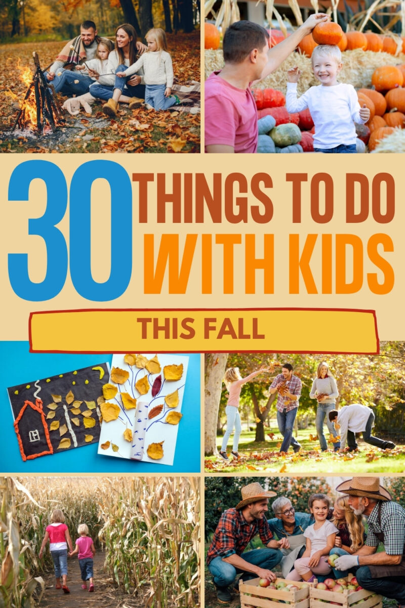 pinterest graphic with fall theed familes have fun outdoors