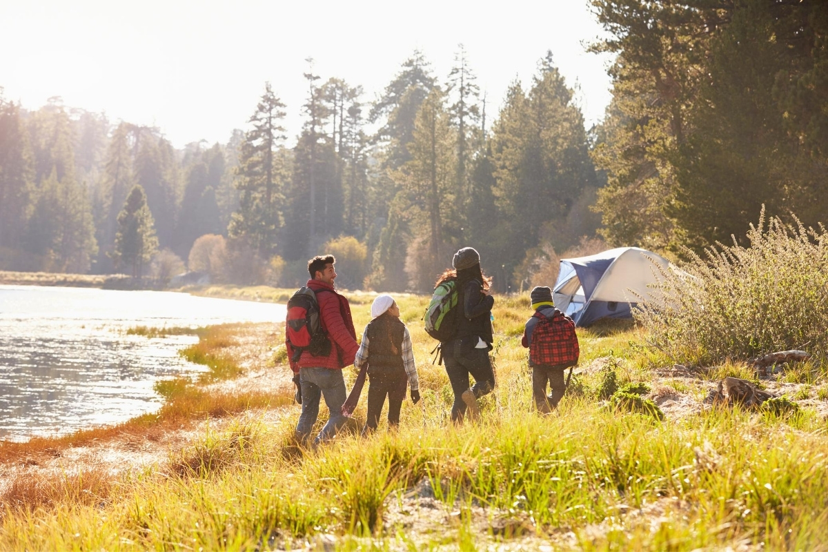 family camping hike