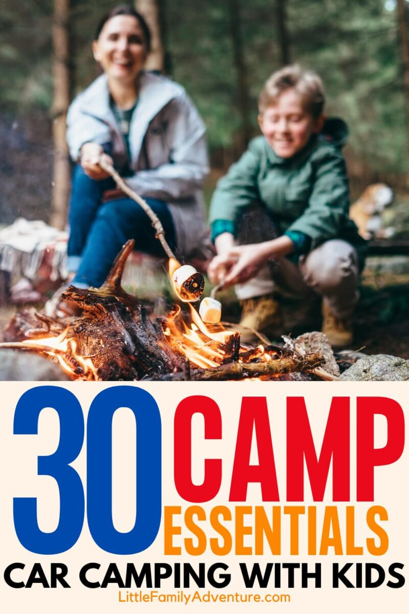 mother and son roasting marshmallows - camp essentials