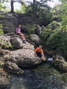 Kids Hiking on rocks