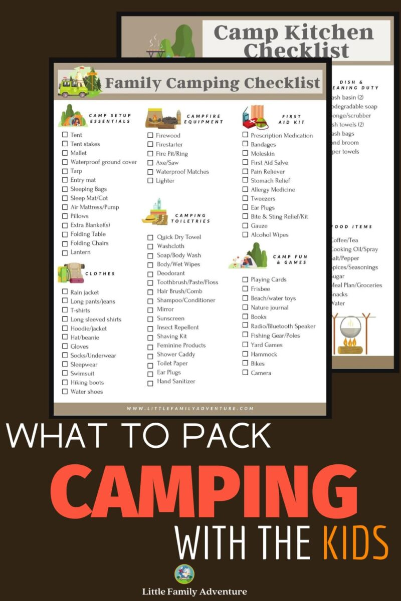 what to pack camping checklists