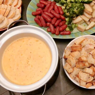 cheese fondue and dippers