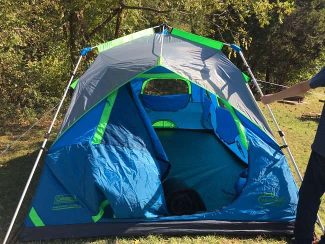 Setting up camping tent