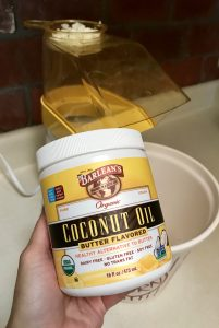 Chia Cinnamon Sugar Popcorn made with Barlean's butter flavored coconut oil