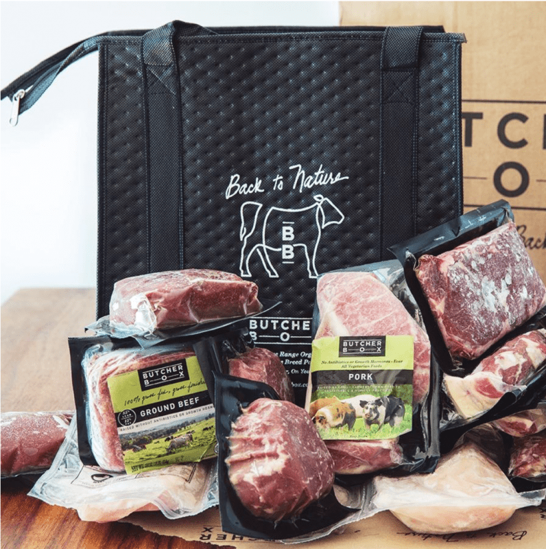 assortment beef cuts and black grocery bag