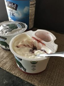 Stonyfield 100% grass fed Greek yogurt with fruit side car