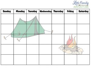 Outdoors Family Fun Printable Calendar