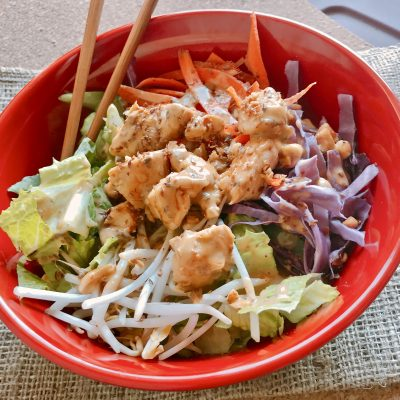 Rainbow Thai Chicken Salad with Peanut Dressing