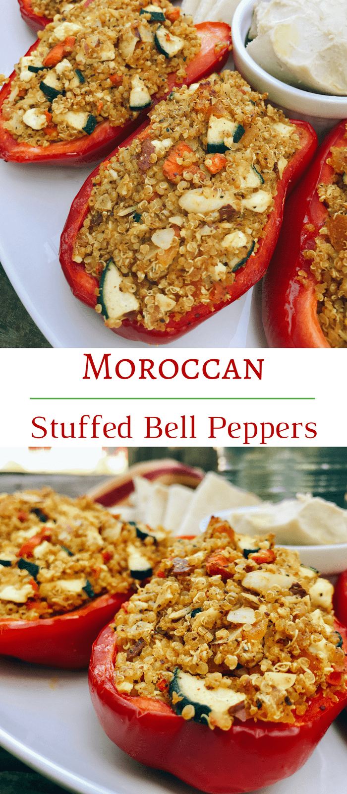 Moroccan Stuffed Bell Peppers with Quinoa, turmeric, and Feta - Vegetarian, Gluten free
