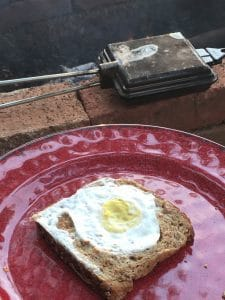 Egg in a Hole while camping