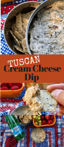 All Hands In on Appetizer Night when you create this Creamy Tuscan Cream Cheese Dip with marinated artichokes, sun dried tomatoes, Kalamata olives, and Feta cheese