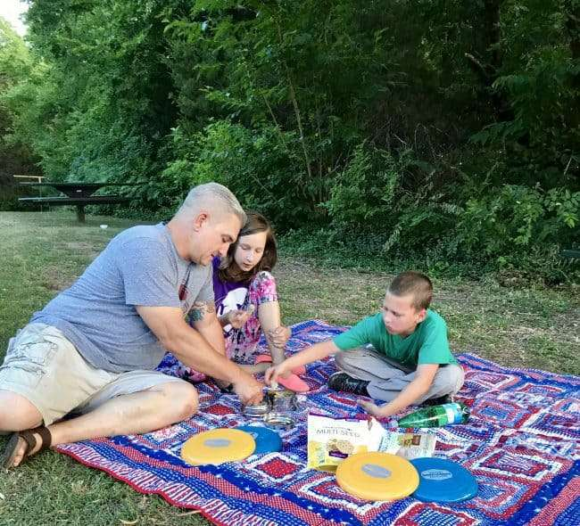 Take dinner outdoors and make it a family game night