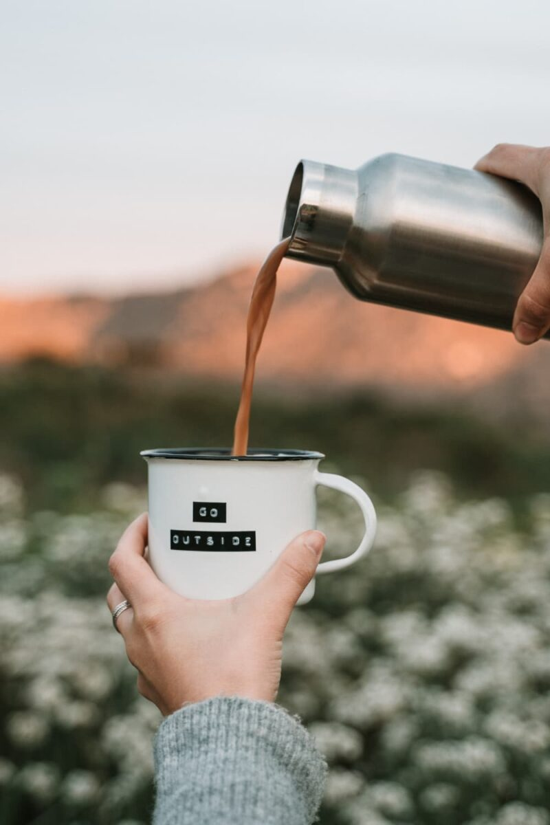 coffee pouring outdoors
