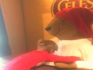 Hugging the bear in boulder can only mean one place. Celestial Seasonings Tea Factory.