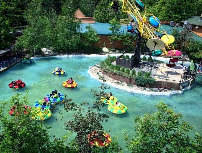 People in bumper boats at Silverwood Theme Park's Country Carnival