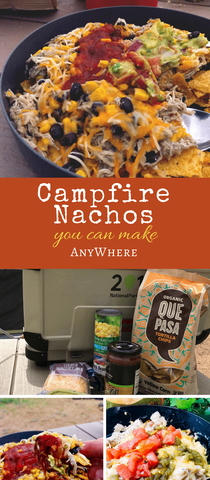 Make Anywhere Campfire Nachos - This camping recipe features delicious green Chile chicken