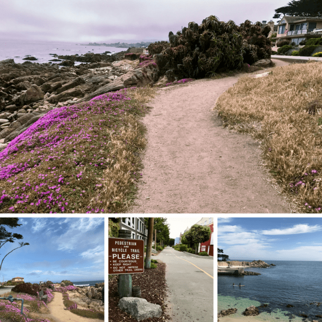 Monterey Bay Coastal Recreational Trail runs from Pacific Grove through Cannery Row in Monterey, CA. This 18 mile multi-use trail is a great path to take to for walking, running, or cycling while touring the waterfront. Views are spectacular