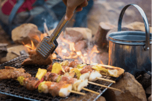 skewers cooking on campfire grate