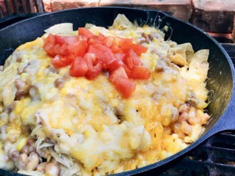 Grilled Chicken Enchilada Campfire Nachos